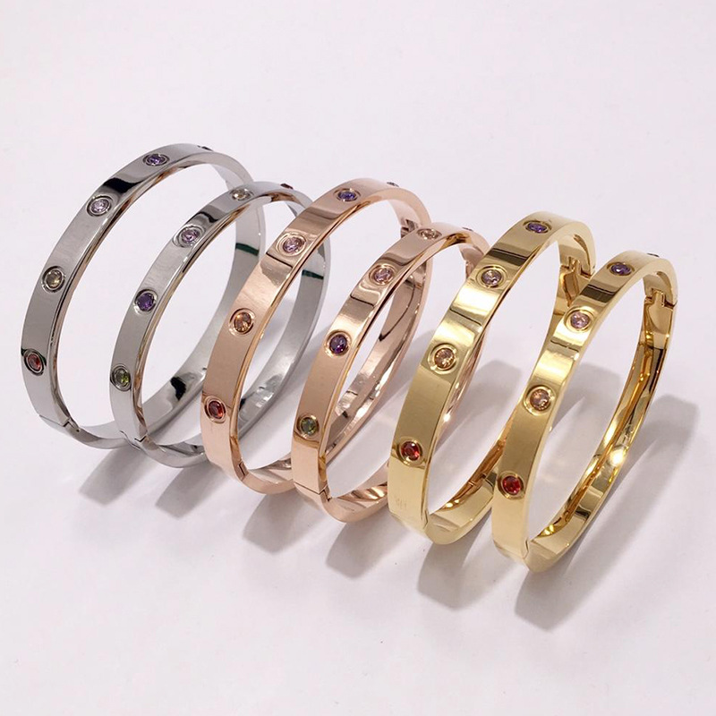Luxury Titanium Classic Design  Bracelets Bangles With Screwdriver Lovers Wristband Bangle Rose Gold Love Screw Bracelet (women)
