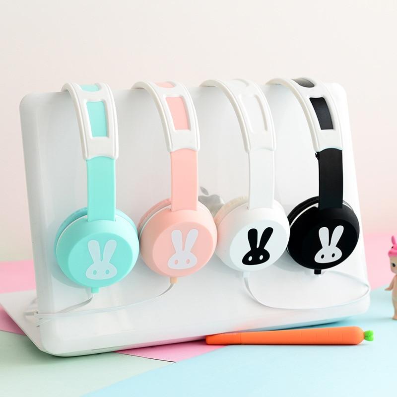 Cute Rabbit Headband Stereo Headphones w/ Microphone Portable Wired Headset for Kids Girls Mobile Phone iPhone Samsung Gift Pink keenion kos 588 wired stereo headset headphones w microphone black 3 5mm plug