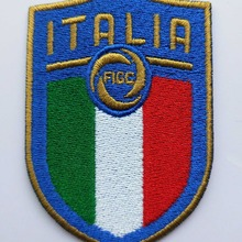 2 pcs/lot Football Football fussball Équipe Nationale Italie logo fer sur la Correction Aufnaeher Applique Buegelbild Brodé(China)