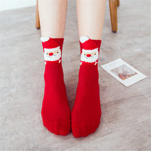2019 neue Bequeme Weihnachten Mädchen Baumwolle Socke Hausschuhe Kurzen Druck Ankle Socken Winter Dicke Warme Wolle Socken Casual Cottonket(China)