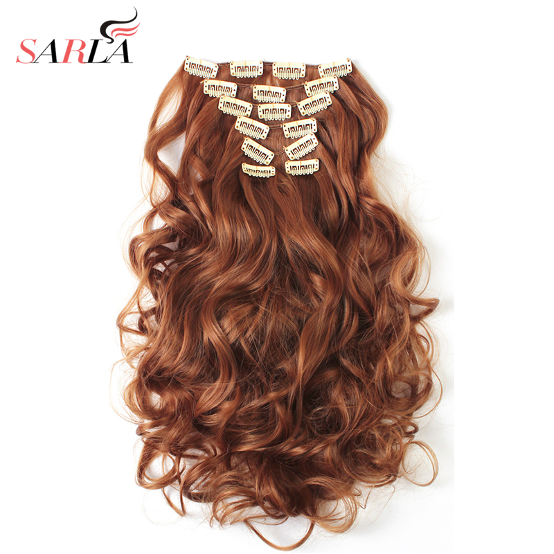 SARLA 200pcs Long Wavy Clip In Synthetic Hair Extensions 7pcs/Set Heat Resist High Temperature Hairpiece 28 Colors Available 999