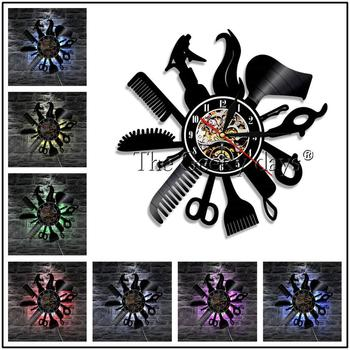 Barber Shop Vinyl Record Wall Clock Modern Design Beauty Salon Store Vintage 3D Timepiece Haircut horloge Hairdresser Gift 12