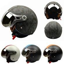 2016 nuevo llega la alta calidad de cuero Vintage hombres y mujeres Universal de la motocicleta protectora Motor vehículos eléctricos cascos mitad G-288