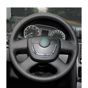 Image 2 - יד תפור שחור PU מלאכותי עור רכב הגה כיסוי עבור סקודה אוקטביה 2009 2013 Citigo 2011  2012 רומסטר פאביה