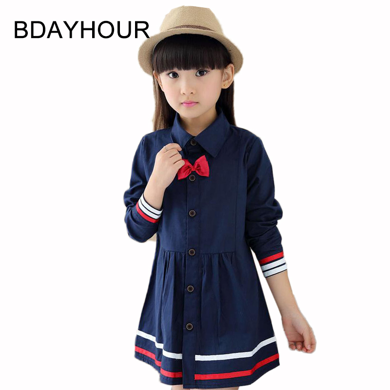ФОТО Girls Striped Dress 2017Spring New Soft Breathable Cotton Bow Decoration Turn-Down-Collar Striped Girl Preppy Style A-Line Dress