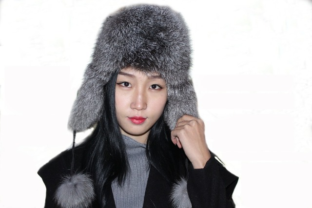 fox ear cap Warmth freeshipping warm in winter  women hat real fur fox fur fashion hat