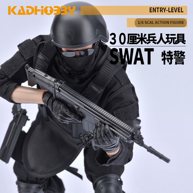 30CM <font><b>1/6</b></font> <font><b>Scale</b></font> Military Solider Figure Toys Set Collectable US Swat Team Model DIY Clothes Doll Action Figure <font><b>Gun</b></font> Toy for Boys image