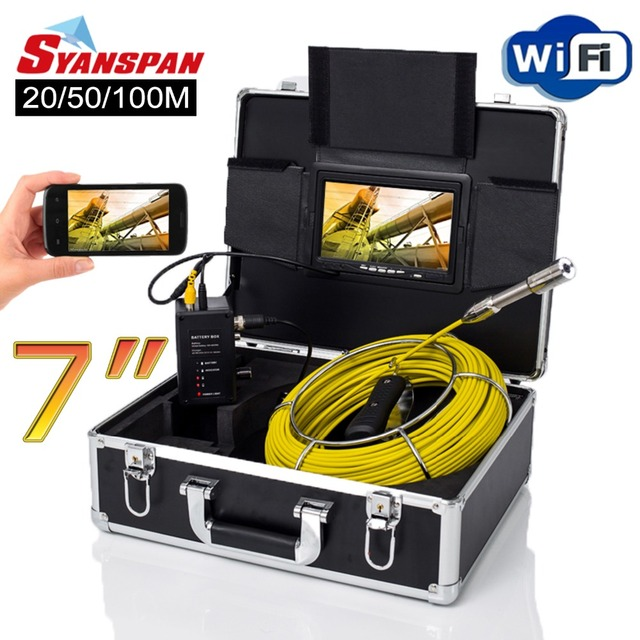 """SYANSPAN 7"""" Wireless WiFi 20/50/100M Pipe Inspection Video Camera,Drain Sewer Pipeline Industrial Endoscope support Android/IOS"""