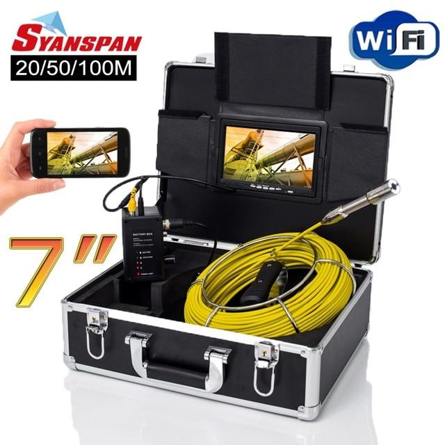 "Syanspan 7 ""무선 와이파이 20/50/100 m 파이프 검사 비디오 카메라, 드레인 하수도 파이프 라인 산업용 내시경 지원 안드로이드/ios"