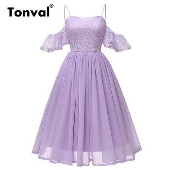 e721818b5c2 Tonval Плиссированные шифон Кружева рюшами рукава с открытыми плечами платье  Фиолетовый Винтаж платье Для женщин Спагетти ремень вечерние пл.
