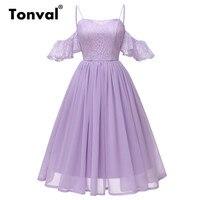 Tonval Pleated Chiffon Lace Ruffle Sleeve Off Shoulder Dress Purple Vintage Dress Women Spaghetti Strap Party Dress
