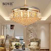 52 pouces LED lustre en cristal ventilateur lumières salon ventilateur moderne avec télécommande ventilateur plafonnier ventilador de techo