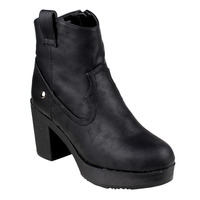 Beston FM38 Women S Western Style Platform Ankle High Top Block Heel Booties