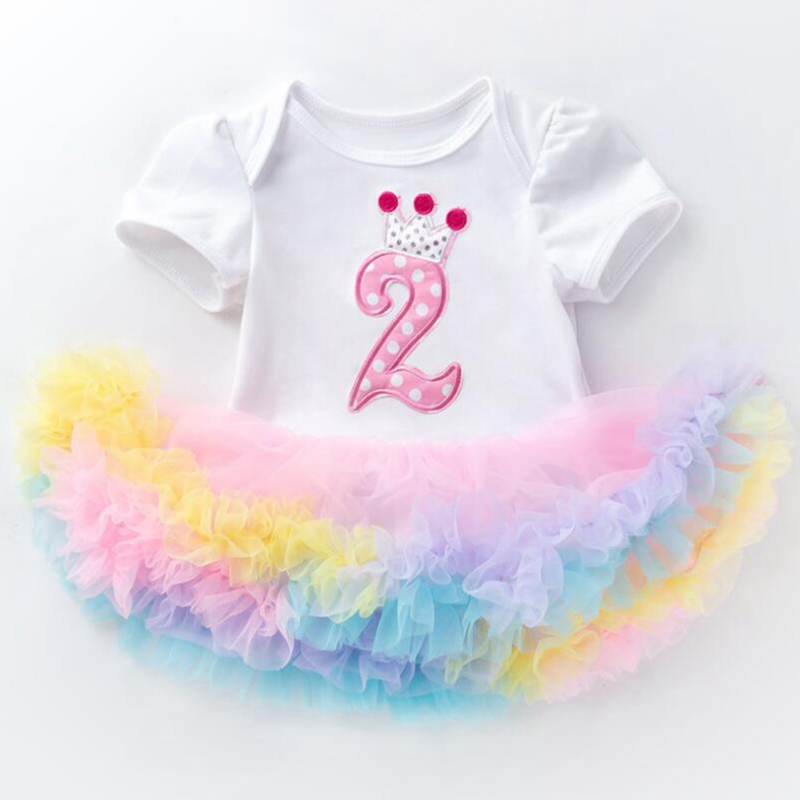 2 Years Birthday Tutu Dresses For Girls Infant Lace Romper Dress Baby Girl Clothes 2nd Toddler Birthday Outfits Bebek Elbise