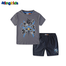Mingkids Boys Summer Sets T Shirt+Short Pants cotton sports Letter printed Export Europe