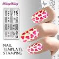 Belleza BRICOLAJE Nail Art Stamping Plantilla Multicolor esmalte de Uñas Manicura Sello de Imagen Plate Plantilla Patrón de Mariposa Corazón de la Estrella