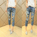 NEW BRAND WOMEN PENCIL PANTS WITH BUTTON  CARTOON PRINT CAPRIS JEANS FOR LAIDES SLIM TROUSERS 20711