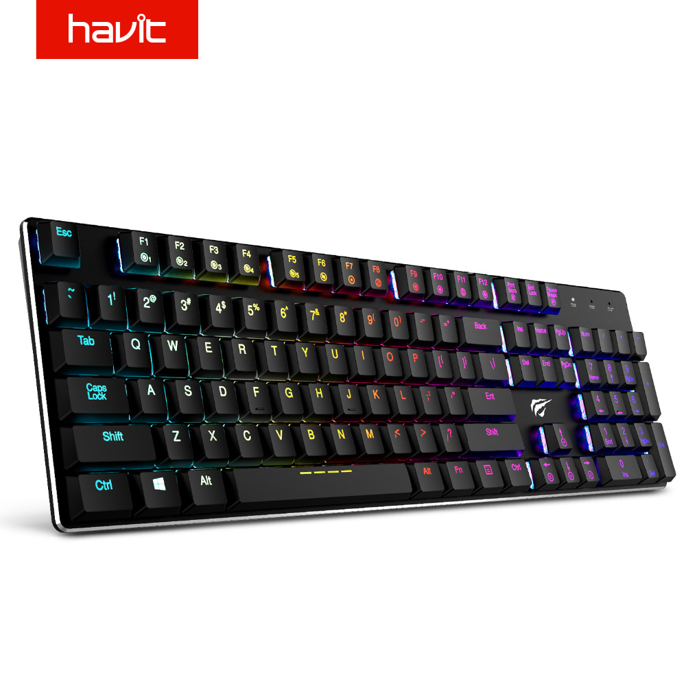 HAVIT Mechanical Keyboard 104 Keys RGB Wired Mini Gaming Keyboard Metal Blue Switches English Keyboard For Laptop PC HV-KB395L rainbow gaming backlight keyboard 87 keys colorful mechanical keyboard with blue black switches desktop for pc laptop