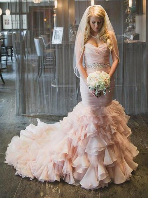 Aliexpress.com : Buy Drapped Light Pink Mermaid Wedding Dresses ...