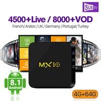 MX10 4G 64G IPTV France Arabic Android 8.1 RK3328 IPTV Wifi With SUBTV IPTV France Arabic Subscription 1 Year Code Full HD Live