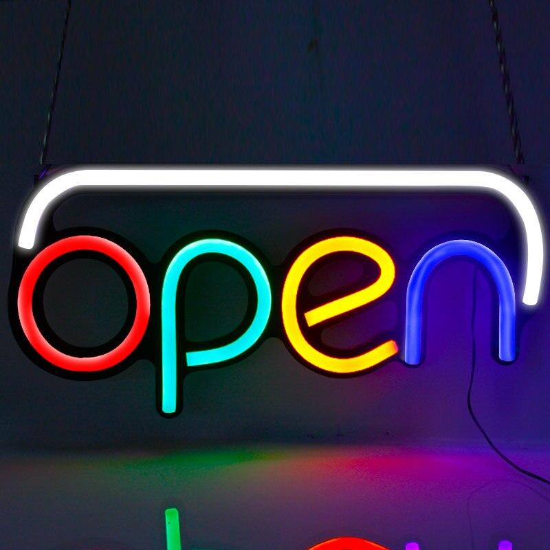 En gros 5 pièces/carton nouveau style signe ouvert avec 4 lettres de couleur et blanc/flahing bord LED enseigne ouverte au néon pour magasin d'affaires