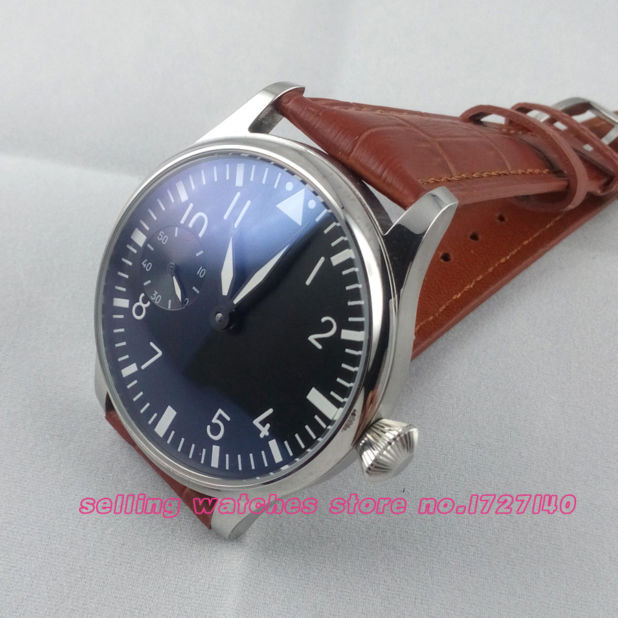 44mm parnis black dial MECHANICAL hand winding Asia 6497 mens Watch brown цена и фото