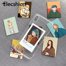 Soft TPU Transparent Case For iphone 7 8 Plus XR XS Max Oil Painting  X Xs 6 6s With Cold Wind ins Card Diy