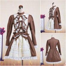 Kunden zu bestellen! V-1077 Braun Baumwolle vollen ärmeln Gothic Lolita Kleid schuluniform Halloween Cosplay Cocktailkleid