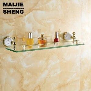 Золотистая отделка с закаленным стеклом, полка из цельного стекла для ванной комнаты, аксессуары для ванной комнаты из твердой латуни