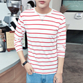 2017 Summer Fashion Mens Stripe T O-neck Short Sleeve Slim Fit Shirt White / Red / Navy / Grey 4 colors