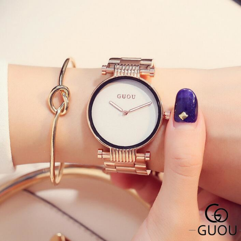 GUOU Wrist watches Simple Fashion Rose Gold Watch Women Watches Stainless Steel Watch Clock Women relogio feminino reloj mujer megir brand luxury simple women watches stainless steel watch women quartz ladies wrist watch gold relogio feminino reloj mujer