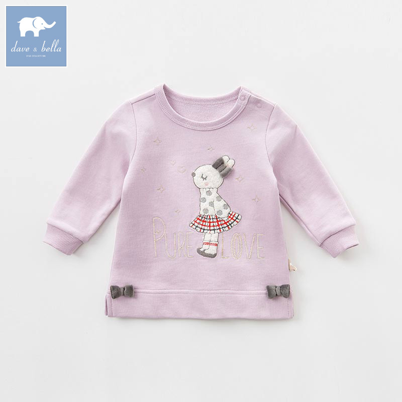 DB7635 dave bella spring infant baby girls fashion pink striped t-shirt kids cotton lovely tops children high quality tee