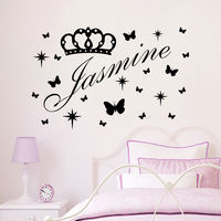 Vinyl Name Wall Decals Princes Crown Decal Nursery Baby Girl Room Decor Art