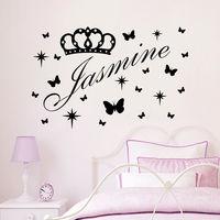 Vinyl Name Wall Decals Princes Crown Decal Nursery Baby Girl Room Decor Art