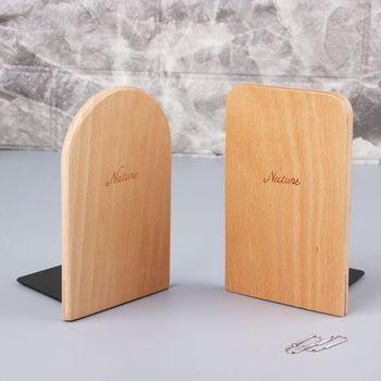 Nature Wooden Desktop Organizer Office Home Bookends Anti-skid Book Ends Stand Holder Shelf