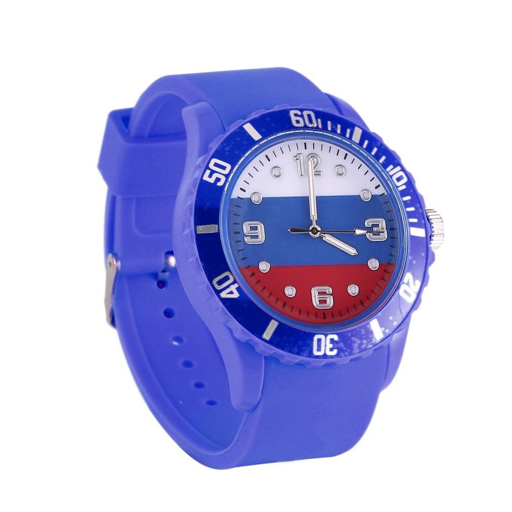 Russian 2018 Sports Custom Russian Theme Flag Pattern Quartz Watch Comfortable Silicone Bracelet Casual Sports Wristwatch
