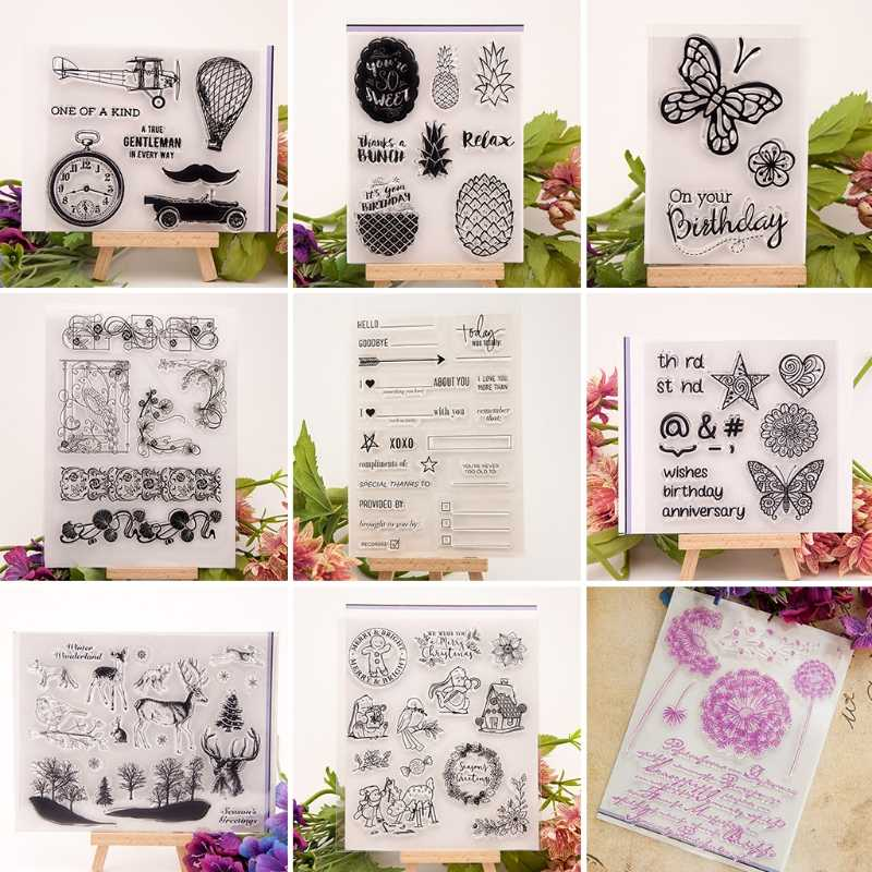 Car Clock Pineapple Butterfly Flower Vine Clear Stamp for Scrapbooking Transparent Silicone Rubber DIY Photo Album Decor