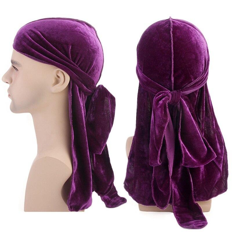 Unisex Men Women Breathable Bandana Hat Velvet Durag Long Tail Headwrap Chemo Cap