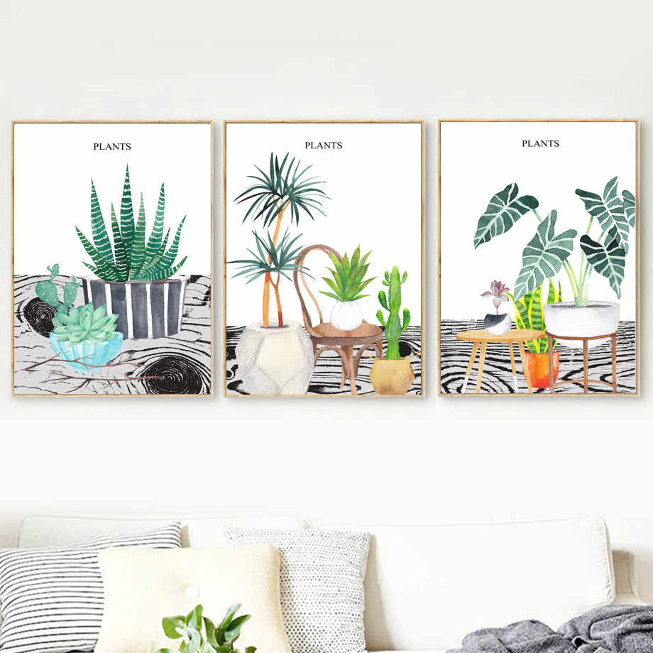 Gohipang Watercolor Cactus Succulents Plant Potted Wall Art Canvas Painting Nordic Posters And Prints Wall Pictures Living Room
