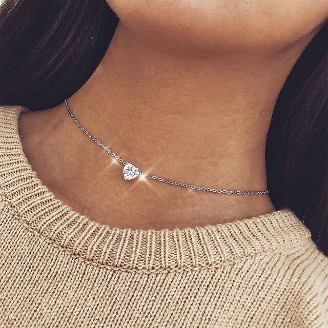 Coração de cristal Pingente de Colar Feminino Curto Colar de Corrente de Ouro Colar de Pingente de Coração de Cristal Colar Chocker pescoço