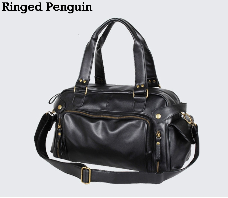 Ringed Penguin 2018 Mens PU Leather Bag Messenger Bag Shoulder Bag man high quality SATCHEL BAG