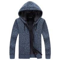 ジャケット男性綿フード付きジャケットセーターメンズ厚みの暖かい秋の冬ジャケット男性パッド入りニットカジュアルなセーターカーディガンコート