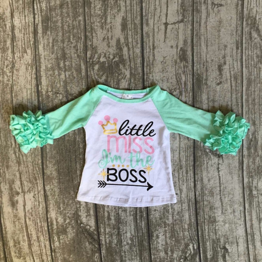 baby girls three quarter icing boutique little miss Im the boss mint top shirts crown clothing back to school cotton raglan