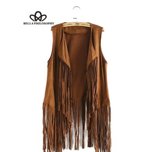 2016 autumn winter new wholesale fringed tassels faux suede sleeveless asymmetrical vest jacket