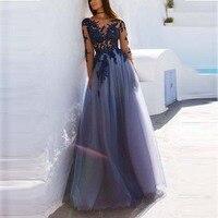 Floor length Evening Dress Long Lace Tulle Elegant Party Gowns Evening Gowns Prom Dress Abendkleider Vestido Para Festa Longo