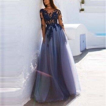 8821b9d763bfa1 Vloer-lengte Avondjurk Lange Kant Tulle Elegante Partij Jassen Avondjurken  Prom Dress Abendkleider Vestido Para Festa Longo