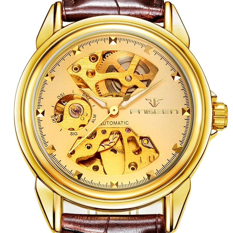 30 Waterdichte Herenmode Casual Horloges FNGEEN Merk Ambachtsman Maken Bruin Lederen Bandjes Automatische Mechanische Horloge 8818