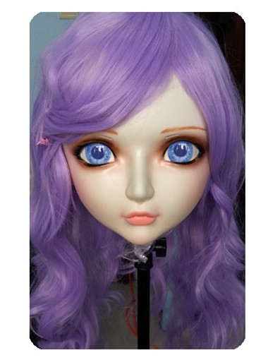 Efficient gl020 Women/girl Sweet Resin Half Head Kigurumi Bjd Mask Cosplay Japanese Anime Lifelike Lolita Mask Crossdressing Sex Doll