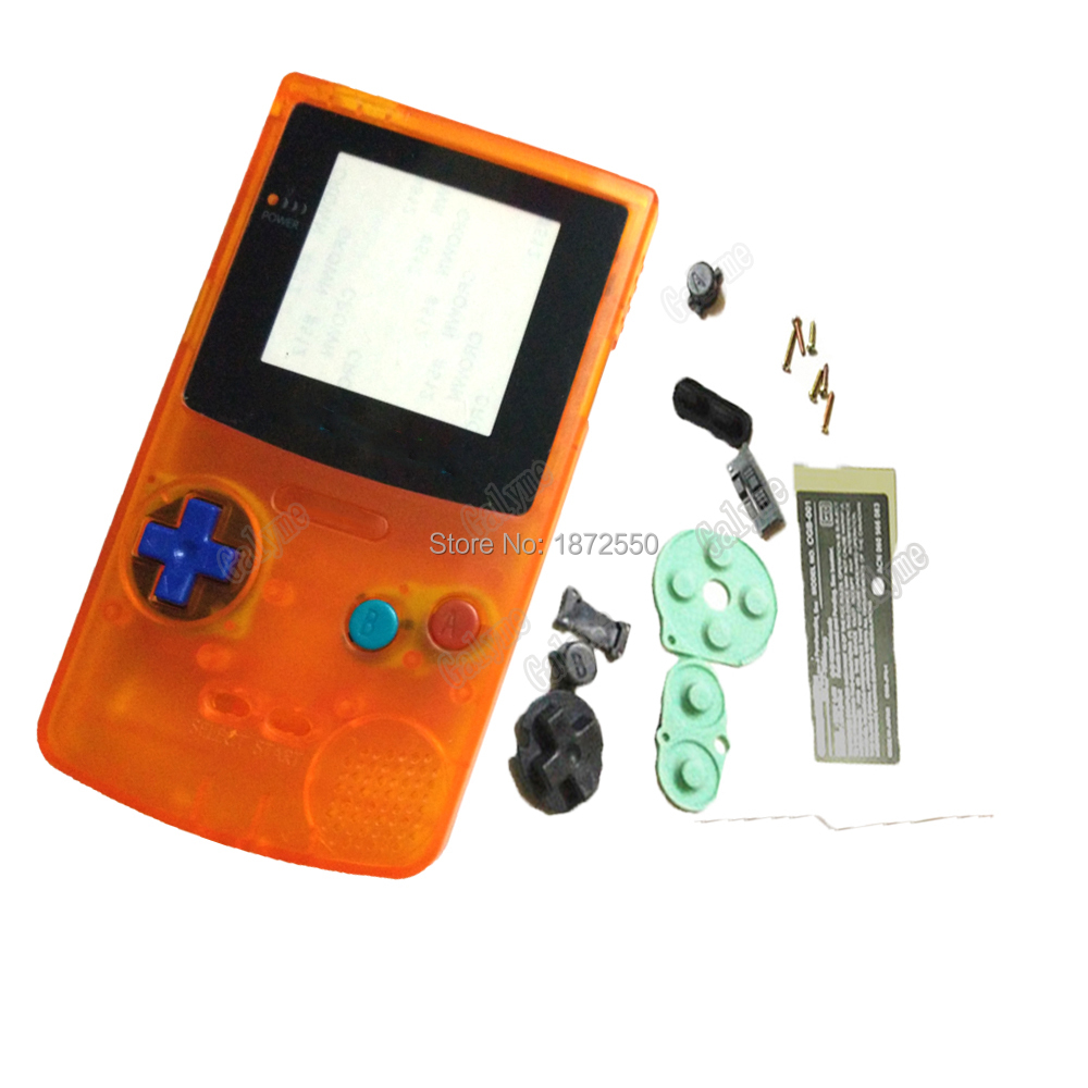 Clear Orange Shell Cover Complete Part Housing For NintendoGBC GameboyColor Game Console Replacement Parts Housing Boy Gifts