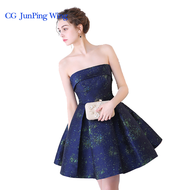 84547463120 2017 New Girls Elegant Designer Graduation Dresses Dark Blue Short  Sleeveless Off the shoulder Homecoming Dresses